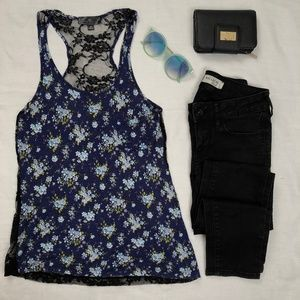 Navy blue floral tank top with black lace back